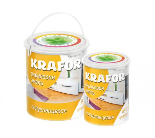 Эмаль акриловая KRAFOR полуглянц, супербел. 1кг