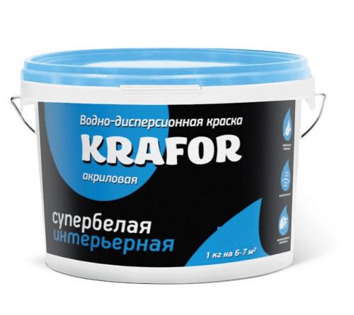 Краска в/д интер KRAFOR супербел. 6,5кг Син.