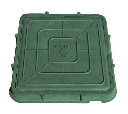 Люк полимерный 685х685 квадратный зеленый